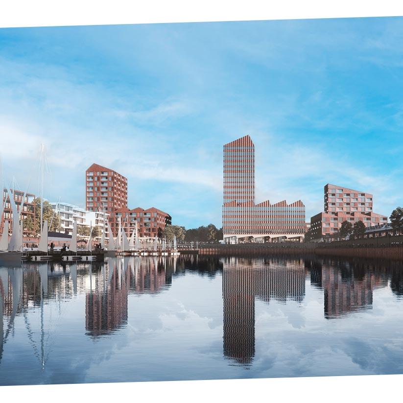 Europahafenkopf Bremen Silhouette Hafenbecken